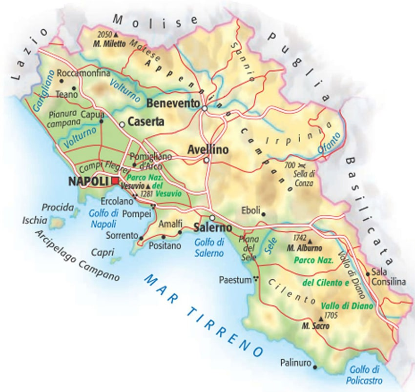 Cartina Italia Salerno.Mappa Della Campania Cartina Interattiva E Download Mappe In Pdf Campania Info